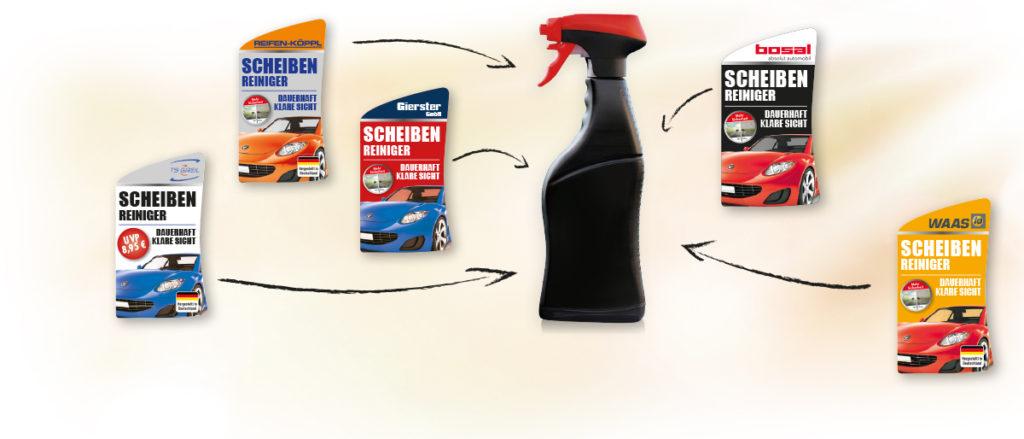 dein-name-drauf.de Einzelflaschen Autopflege mit deinem Namen